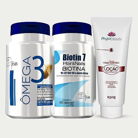 Combo Super Hidratação (Biotin 7 + ômega 3 + Loção de  Pimenta Rosa) 3 itens ZS3XRRZ87