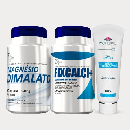 Combo Renovação Celular (Magnésio Dimalato + Fixcalci + Creme Esfoliante) 3 itens JPR7YPK5X