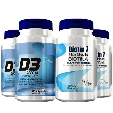 Combo Hair Power Super (2 Biotin7, 2 D3 2000 UI) - D'poan - 240 Cápsulas - YTEWL6EVX