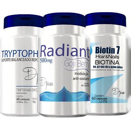 Combo Saúde e Beleza da Mulher (1 Tryptophan, 1 Radiant, 1 Biotin7) - D'poan - 180 Cápsulas - 5G96ZYWQB
