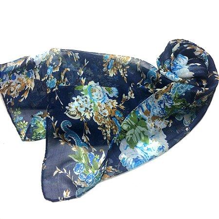 Echarpe floral azul