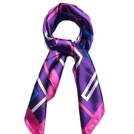 Lenço ultravioleta, pink e branco