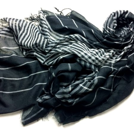 Echarpe Feminina/Masculina preta com branco e creme com marrom