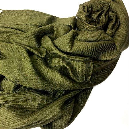 Pashmina lisa verde militar