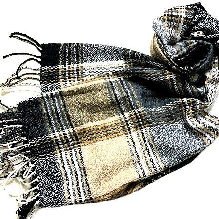 Pashmina outono inverno cinza e caramelo - feminina/masculina