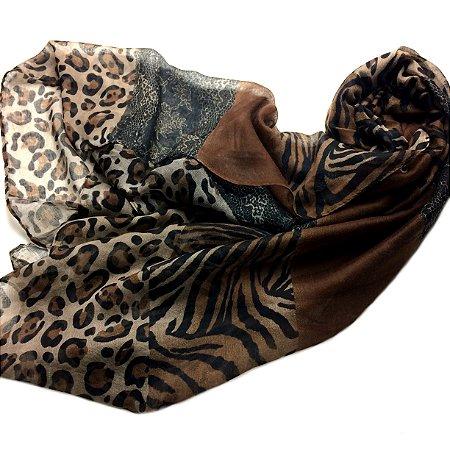 Echarpe animal print marrom