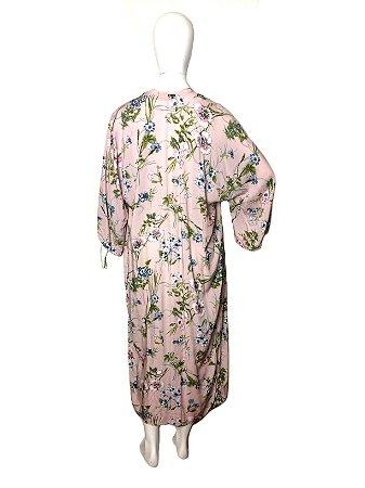Quimono longo floral rosa