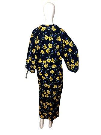 Quimono longo floral azul e amarelo
