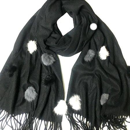Pashmina inverno com pompom