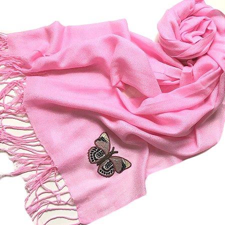 Pashmina rosa borboleta