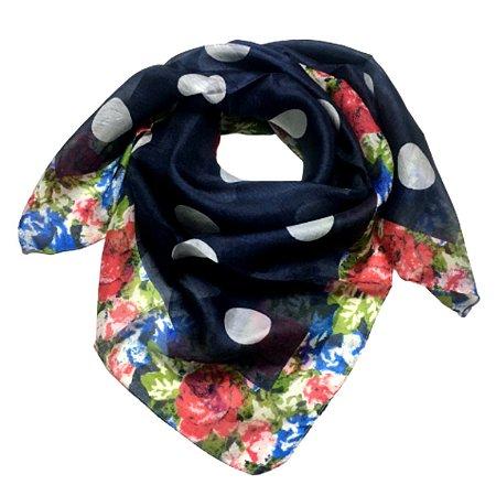 Lenço de seda floral com poá
