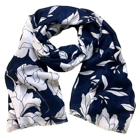 Echarpe floral fundo azul marinho