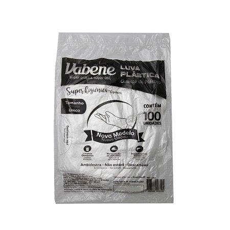 Luva Plástica Descartável Vabene Tamanho Único - 100 Uni