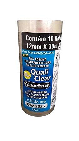 Fita adesiva Quali Clear 12mmx30m Transparente Adelbras