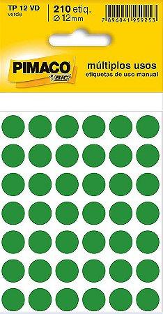 Etiqueta redonda Tp-12 Verde Redonda 12mm - Pimaco Bic