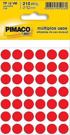 Etiqueta Redonda Pimaco - BIC Tp-12 Vermelha 12mm