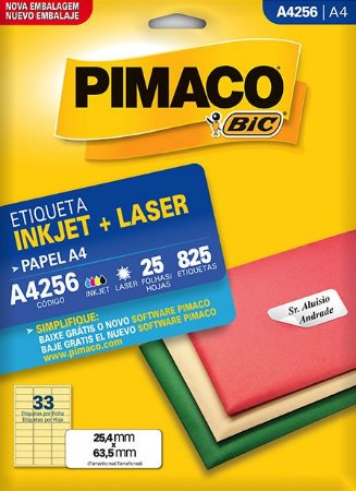 Etiqueta Pimaco BIC A4256 25,4x63,5mm