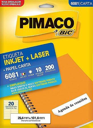 Etiqueta Pimaco BIC 6081 25,4X101,6 Mm 200 Etq.
