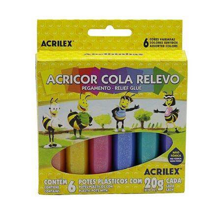 Cola Relevo com Glitter Acrilex 6 Cores