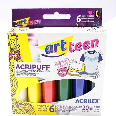 Tinta Tecido Com 6 Unidades  20ml Acripuff