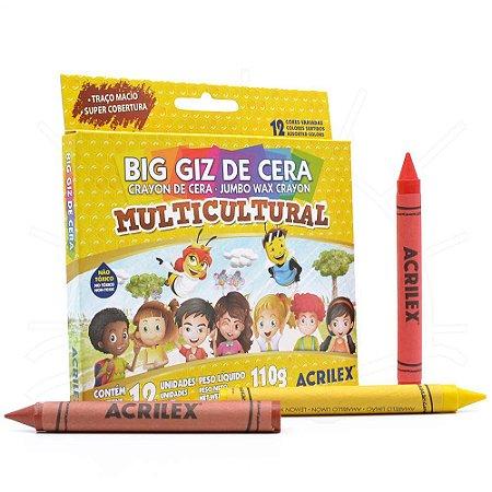 Giz De Cera Acrilex Multicultural 12 Cores