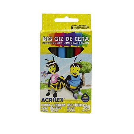 Giz De Cera Acrilex Big Giz 6 Cores