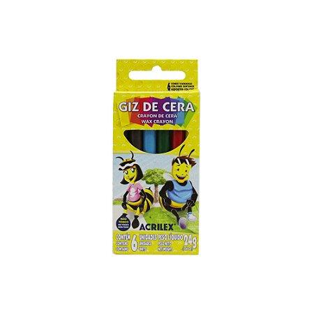 Giz de Cera Redondo Acrilex - 6 Cores