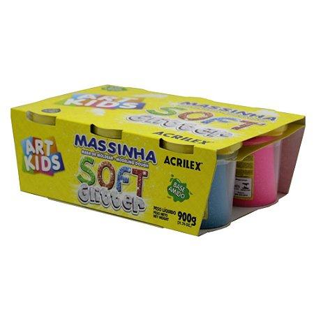 Massa de Modelar Acrilex  Soft Glitter - 6 cores 150g