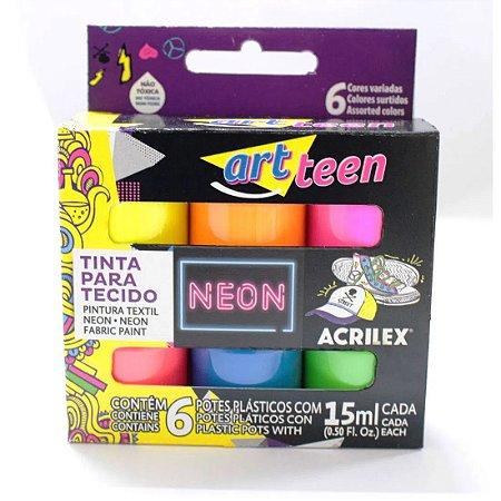 Tinta de Tecido Art Teen Neon Acrilex - 6 Cores