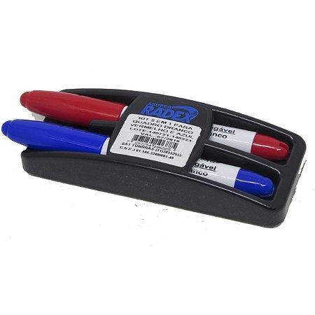Pincel para quadro branco Azul E Vermelho C/ Apagador Radex
