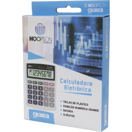 Calculadora de mesa 08 Digitos Bateria Cinza Hoopson - PS-1108