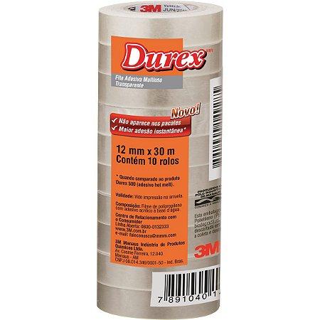 Fita adesiva Durex Transparente 12mmx30m. 3m Pacote C/10