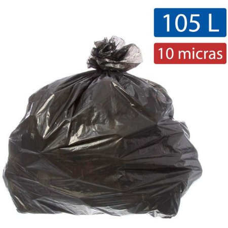 Saco para lixo 105l Preto 75x90cm 10micras Ecoplan Pacote C/ 100 Unidades