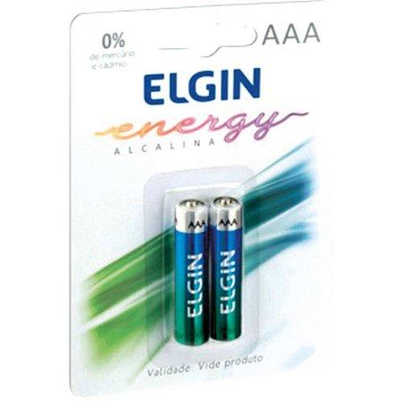 Pilha alcalina Palito AAA Elgin - 2 Pilhas no blister