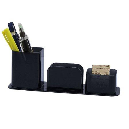 Organizador de Mesa Lápis/Clips/Lembrete - Fume - Dello