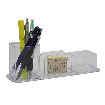 Organizador de Mesa Lápis/Clips/Lembrete - Cristal - Dello