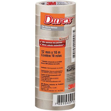 Fita adesiva Durex Transparente 12mmx10m. 3m - Pacote C/ 10 Unidades