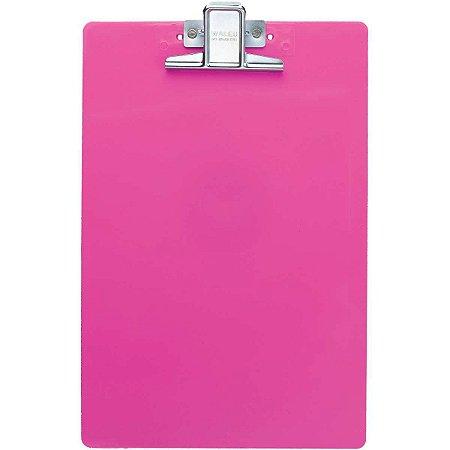 Prancheta Plástica Waleu Super Metal - Rosa