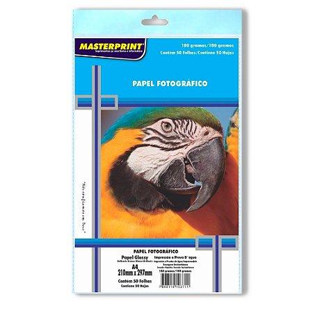 Papel fotográfico inkjet A4 Glossy 180g Masterprint Pacote C/ 50 Unidades