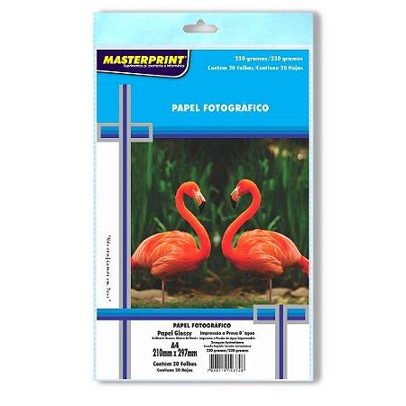 Papel fotográfico inkjet A4 Glossy 230g Masterprint Pacote C/ 20 Folhas