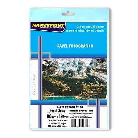 Papel Fotográfico Masterprint - 265g 10x15cm - 20 Folhas