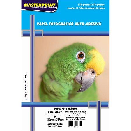 Papel fotográfico inkjet A4 Glossy Adesivo 115g. Masterprint - Pacote C/ 20 Folhas