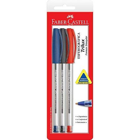 Caneta Esferografica Trilux 1.0mm 3 Cores Faber-Castell