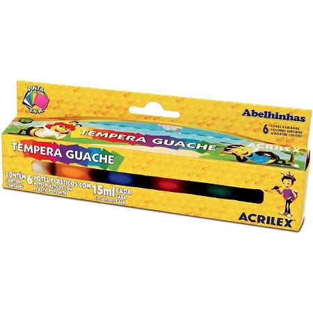 Tinta Guache Acrilex Tempera Guache - 15ml 6 Cores