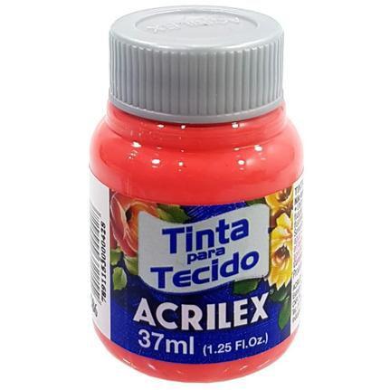 Tinta de Tecido Fosca Acrilex - 37ml Coral