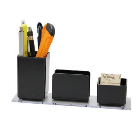 Organizador de Mesa Lápis/Clips/Lembrete - Preto - Acrimet
