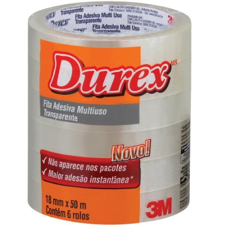 Fita Adesiva Durex 3M Transparente - 18mmx50m