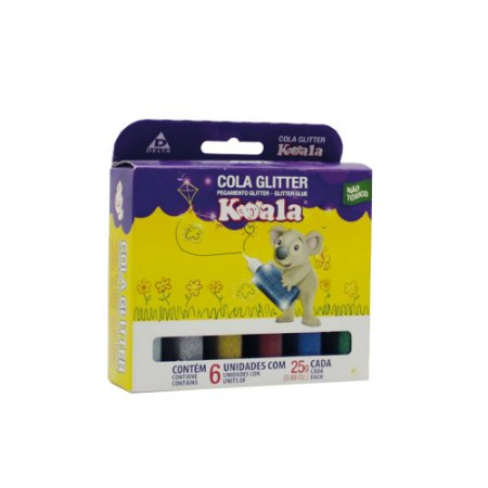 Cola Colorida Koala Glitter Estojo - 6 Cores 23g