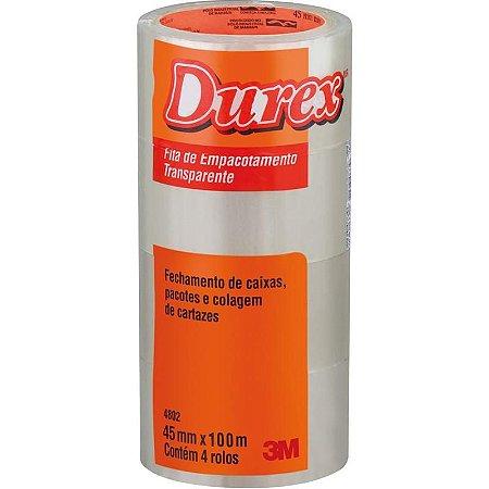 Fita Para Empacotamento Durex Acrilico 45mmx100m Trans Durex