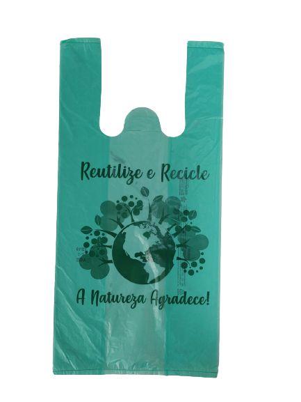 Sacola Plástica Recicle Verde 40x50